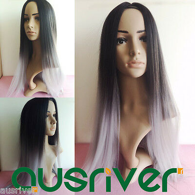 Fashion 70CM Black Straight Heat Resistant Gradient Lady Hair Full Wig