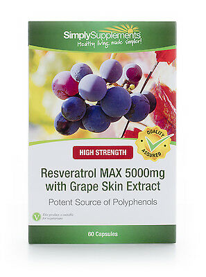 Resveratrol Max 5000mg | 60 Capsules | Nutrient From Red Grapes | Antioxidant
