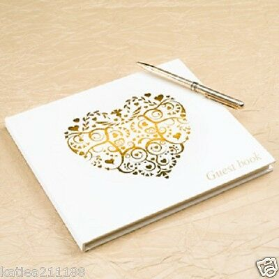 New wedding or anniversary ivory & gold vintage romance love heart guest book