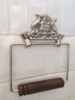 Vintage Australian Antique Style Chrome Brass Toilet Loo Roll Holder Wc Bathroom