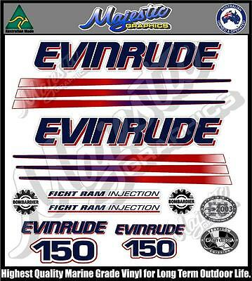 EVINRUDE 150 hp - FICHT RAM - DECAL SET - OUTBOARD DECALS