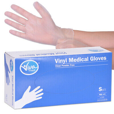 Viva Medi Powder Free Vinyl AQL 1.5 Medical Gloves - Small - Pack of 100