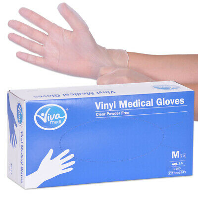 Viva Medi Powder Free Vinyl AQL 1.5 Medical Gloves - Medium - Pack of 100