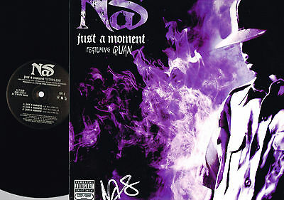 """NAS Just A Moment/These Are Our Heroes 12"""" VINYL Quan USA 44 71538 Hip Hop N/MNT"""