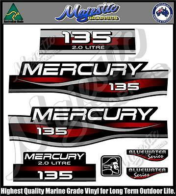 Mercury Outboard Decal Sticker Kit 135 HP Red