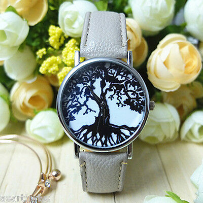 TREE OF LIFE WATCH WITH WHITE STRAP Wicca Witch Pagan Goth Druid