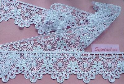 2 metres  of Beautiful   White   Guipure  Lace       6.8 cm Wide