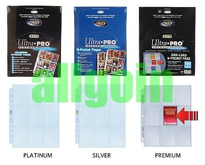 10x Ultra Pro 9-Pocket Pages SILVER/PLATINUM/PREMIUM Fogli Pagine 9 Tasche MTG