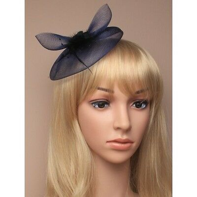 New Navy Blue Net Feather Rose Fascinator Clip Wedding Races
