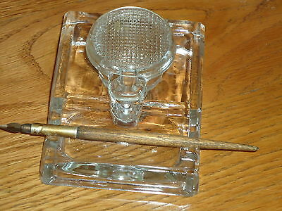 Inkwell With Ornate Glass & Pen Made In England  - Ink Well /Film Prop