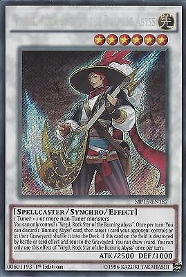 YU-GI-OH: VIRGIL ROCK STAR OF THE BURNING ABYSS - SECRET RARE MP15-EN187 1st ED
