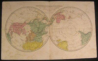 World in Hemispheres Rare 1830 Lincoln & Edmands antique hand color map