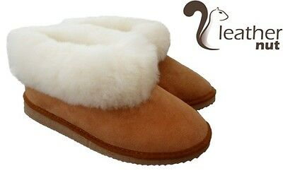 Luxury Ladies / Mens / Kids Sheepskin Slippers 100% Leather With Rubber Sole