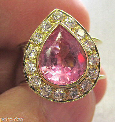 Beautiful Estate 18k Gold Pink Tourmaline & Diamond Ring size 4.5   Make offer