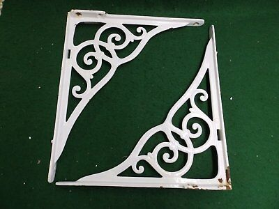 Pair Antique Cast Iron White Porcelain Sink Brackets Supports Old Vtg 4888-15