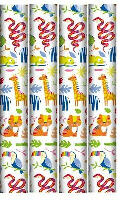 8m Children's Gift Wrapping Paper - 4 x 2m Rolls - Girl's Pink Rainbow & Unicorn