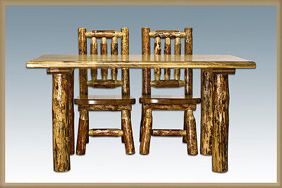 log kids table chairs set amish made rustic toddler table and two chairs - Toddler Wooden Table And Chairs