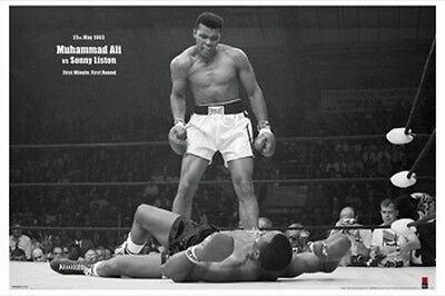 """MUHAMMAD ALI Vs SONNY LISTON POSTER """"FIRST ROUND FIRST MINUTE"""" LICENSED """"NEW"""""""