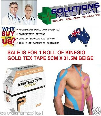 KINESIO TEX SPORTS GOLD TAPE SINGLE ROLL 5CM x 31.5M BLUE BLACK BEIGE PINK