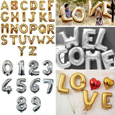 """Gold/Silver 16""""/40"""" Foil Letter Alphabet 0-9 Number Balloons Party Wedding Decor"""