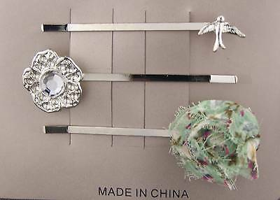 Silver Sparrow Bird fabric flower bobby bobbi hair pins barrette set pack of 3