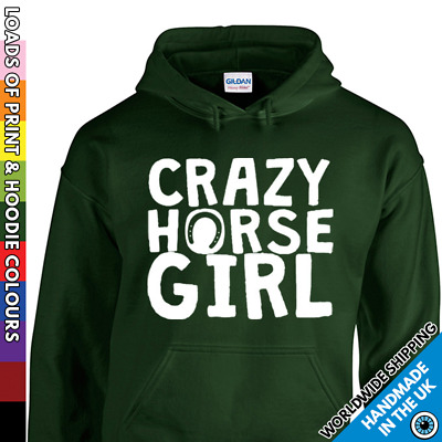 Kids Crazy Horse Girl Hoodie - Cute Pony Riding Rider - Childrens Hooded Top