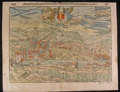 Baden Germany 1598 antique wood engraved hand color city plan