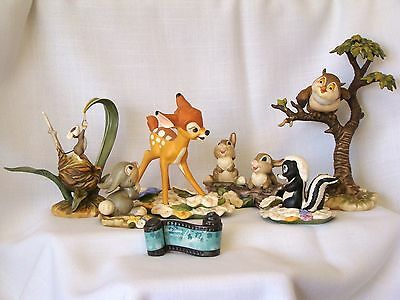 Disney WDCC First Issue BAMBI Sculptures 7 pc. SET w/ New FIELD MOUSE Boxes, COA