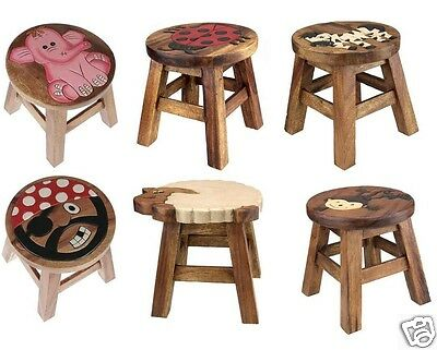 Wooden Animal Design Foot Step Stool Brown Wood Kids Chair Seat Hand Painted New