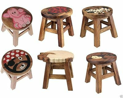 Kids Wooden Step Stool Brown Solid Wood Chair Seat Hand Painted Animal Design