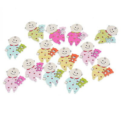 30PCs Cute Baby 2 Holes Wooden Buttons Sewing DIY Scrapbooking 35x29mm