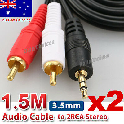 2 x Stereo Audio 3.5mm Aux Jack to 2 RCA M/M Y Splitter Cable Gold Plated
