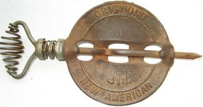 Antique Cast Iron Griswold 4 in New American Reversible Steel Stove Pipe Spindle