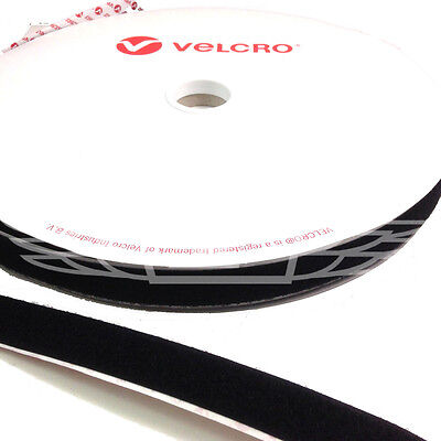 VELCRO® BRAND 25mm x 25 meters BLACK SELF ADHESIVE LOOP ONLY STICKY BACK TAPE