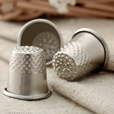 """3x Silver Metal 0.79"""" Height Finger Thimbles Sewing DIY Craft Pin Needle Shield"""