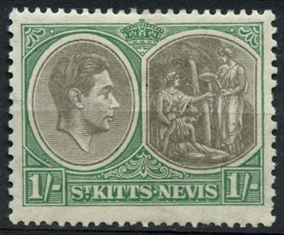 St Kitts-Nevis 1938-50 SG#75, 1s Black & Green P13x12 Ord Paper MH #A94460