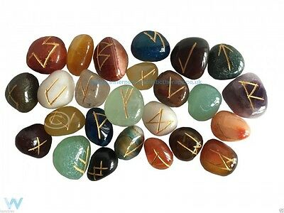 Rune Stones Mixed Crystal Gemstone Healing Oracle Divination Pouch Instructions