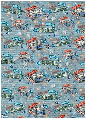 2 Sheets Boy's Comic Strip Speech Bubbles Birthday Wrapping Paper & 1 Gift Tag
