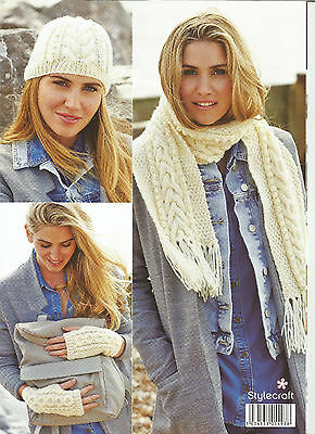 Stylecraft Life Aran Kntting Pattern,ladies & Girls, Hat,scarf,snood,mittens