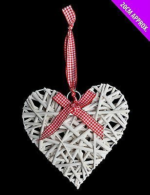 Willow White Heart Bow Hanging Festive Xmas Christmas Gift Ornament Decoration