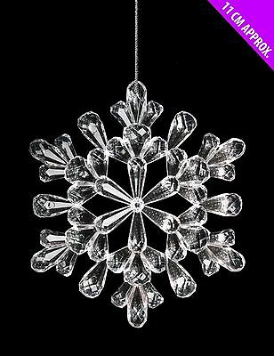 Hanging 11cm Acrylic Clear Snowflake Frozen Christmas Party Xmas Tree Decoration