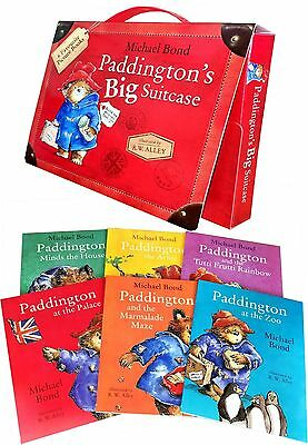 Paddington Bear Suitcase Briefcase 6 Picture Books Set Collection Michael Bond