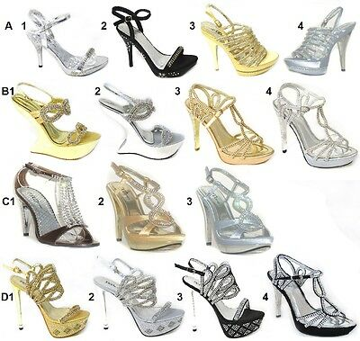 Womens Ladies Diamante High Heel Prom Shoes Wedding Bridal Evening Sandals Size