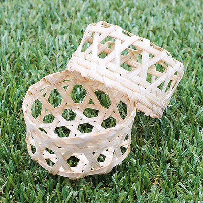 """Round 2"""" Vintage Handmade Weaving Jewelry Box Case Basket Bamboo Wood Gift A1019"""
