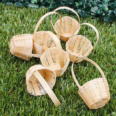 "Vintage 1.5"" Handmade Miniature Woven Basket Bamboo Wood Model Decorate A1027"