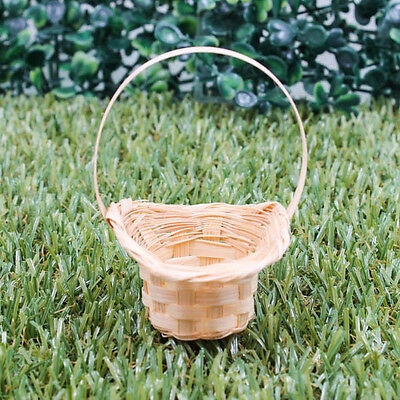 "Vintage 2"" Handmade Miniature Woven Basket Hat Bamboo Wood Model DIY Kit A1028"