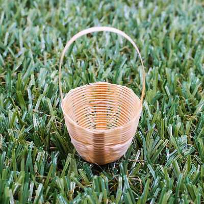 Mini Vintage Handmade Artificial Weaving Basket Bamboo Wood Craft Decorate A1016