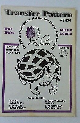 Vintage Pretty Punch Iron-On Transfer Turtle Smile Needlepoint Crafts Paint #924