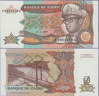 Zaire 500 Zaires Banknote 24-6-1989 Uncirculated Condition Cat#34-2419