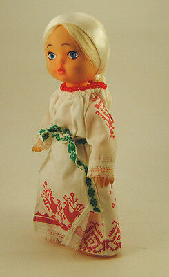 VINTAGE PLASTIC RUSSIAN SOVIET DOLL IN NATIONAL COSTUME USSR 1980s